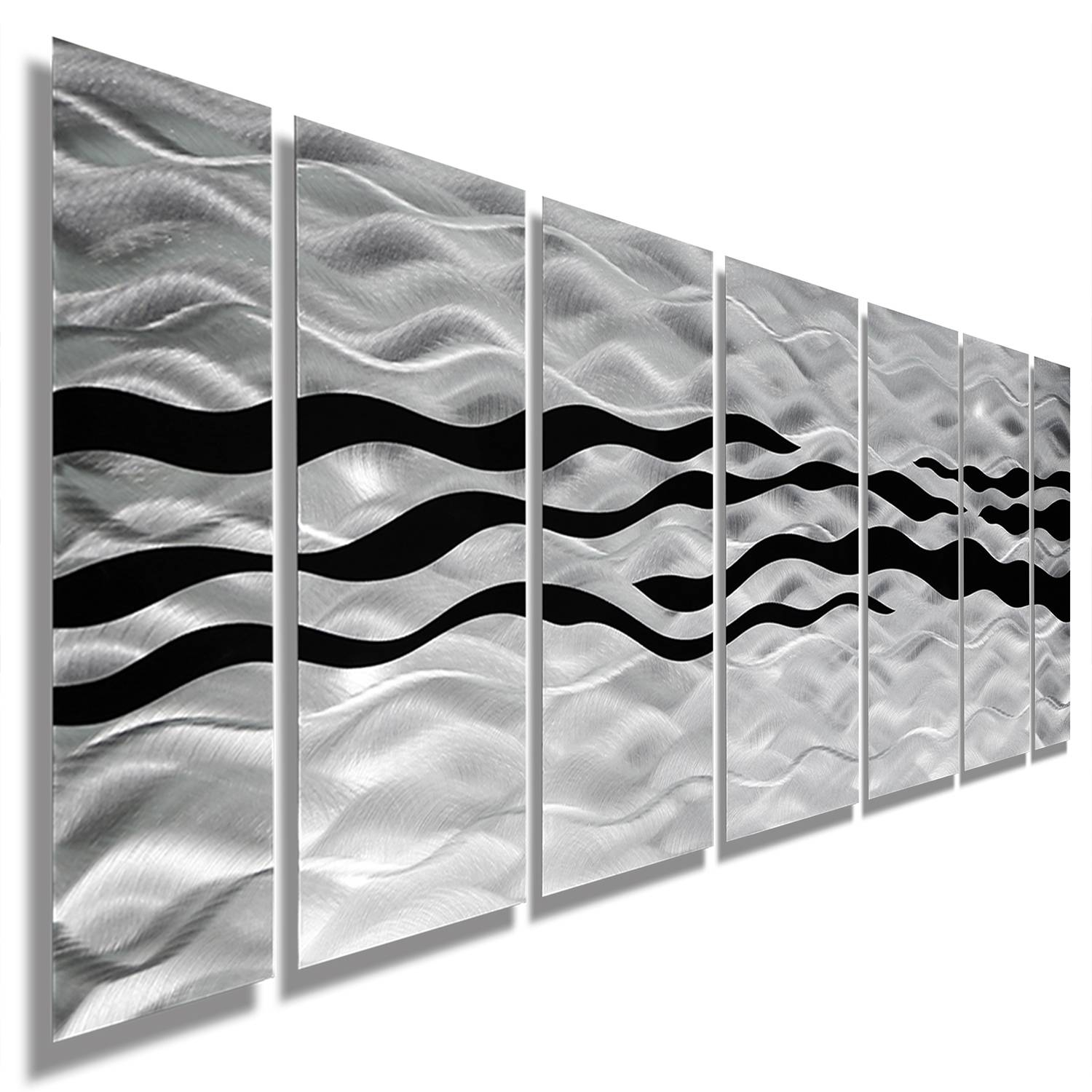 Wild Ways – Silver And Black Modern Metallic Wall Hanging Pertaining To Current Black Silver Wall Art (Gallery 3 of 20)