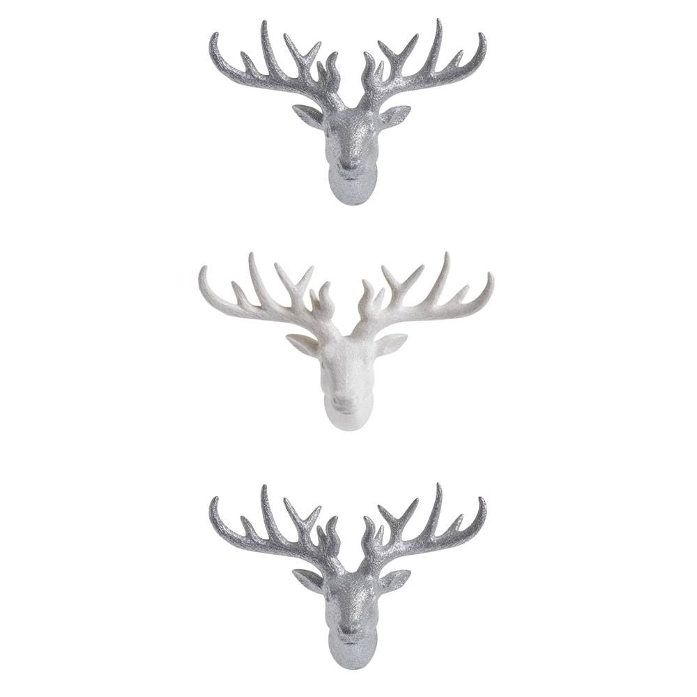 Wilko Frosted Glitter Stag Head Wall Decoration 3pk At Wilko With Best And Newest Stag Head Wall Art (View 15 of 20)