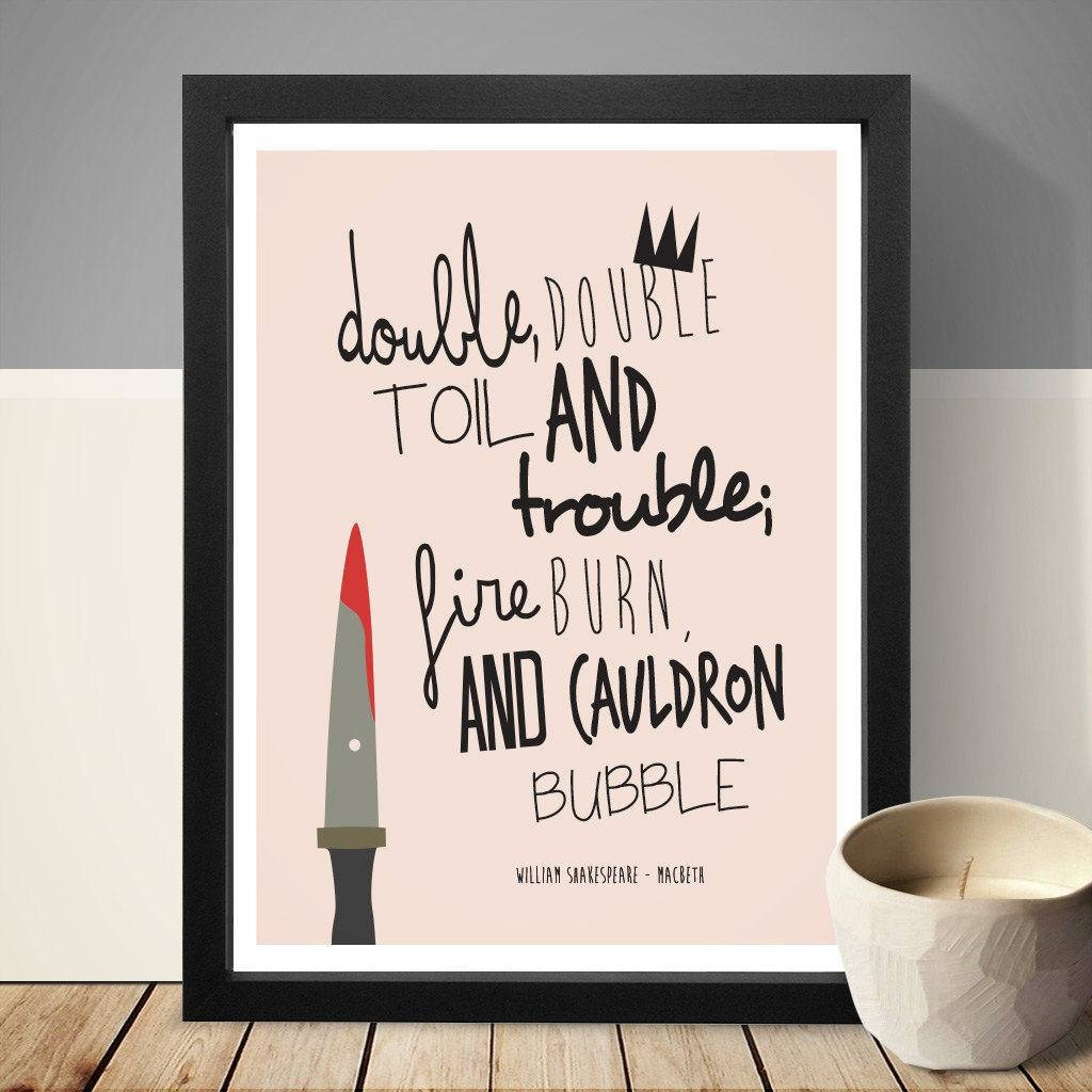 William Shakespeare Macbeth Quote Print Wall Art Home Within Most Recently Released Shakespeare Wall Art (View 5 of 20)