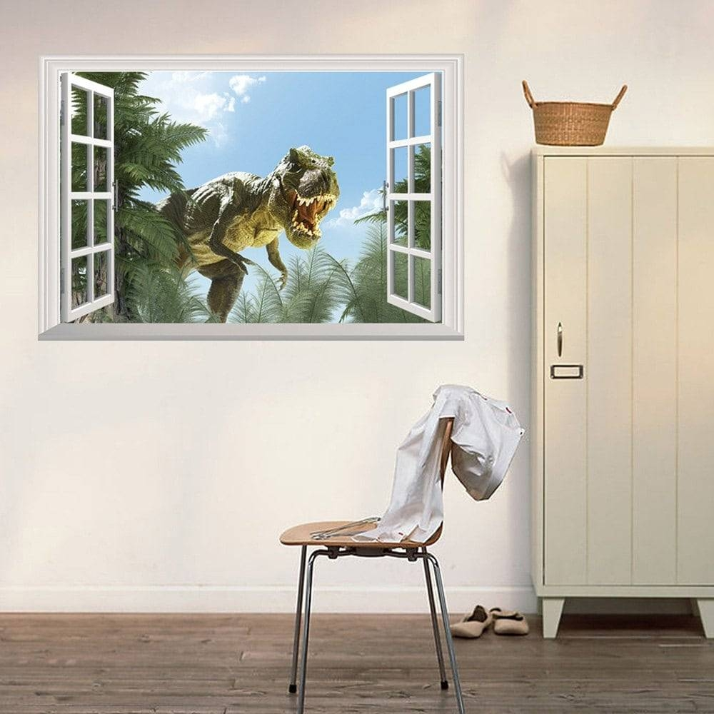 Window Dinosaur 3D Wall Art Sticker, Colormix,  (View 20 of 20)