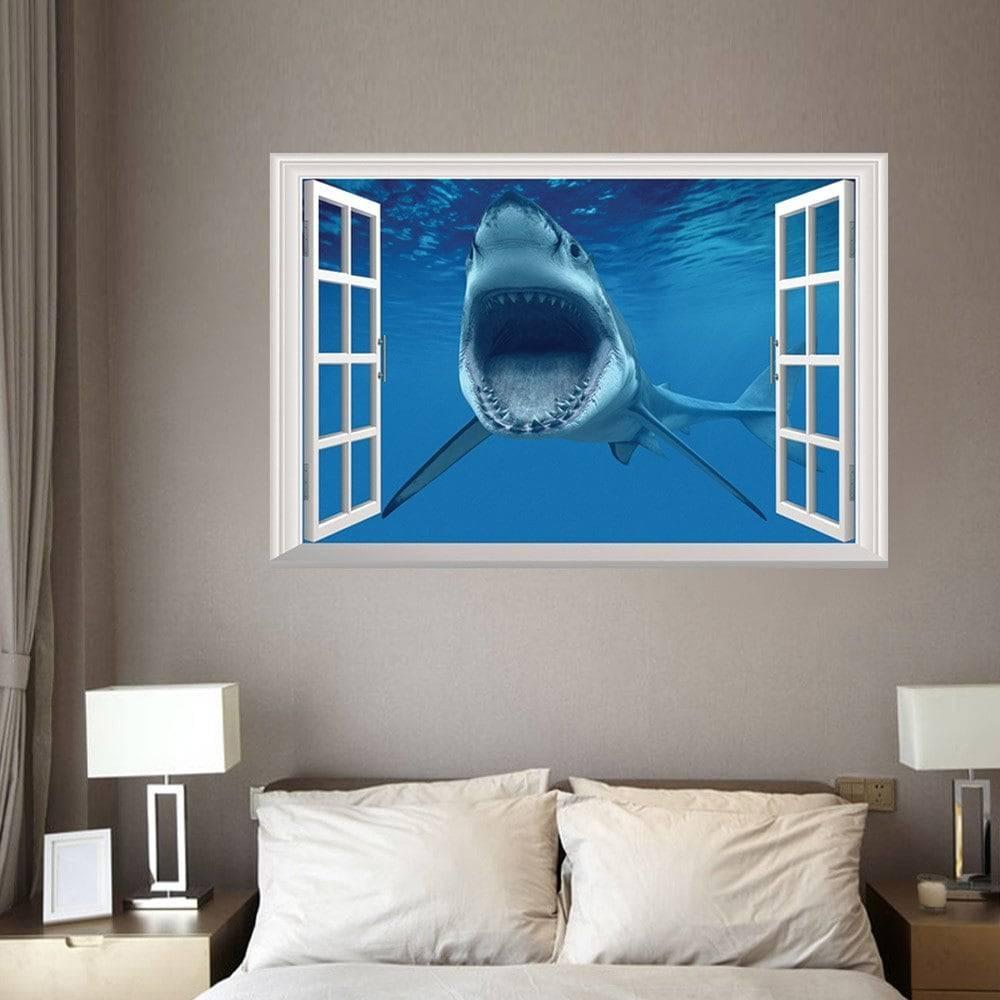 Window Shark 3D Wall Art Sticker For Bedrooms, Blue,  (View 28 of 30)