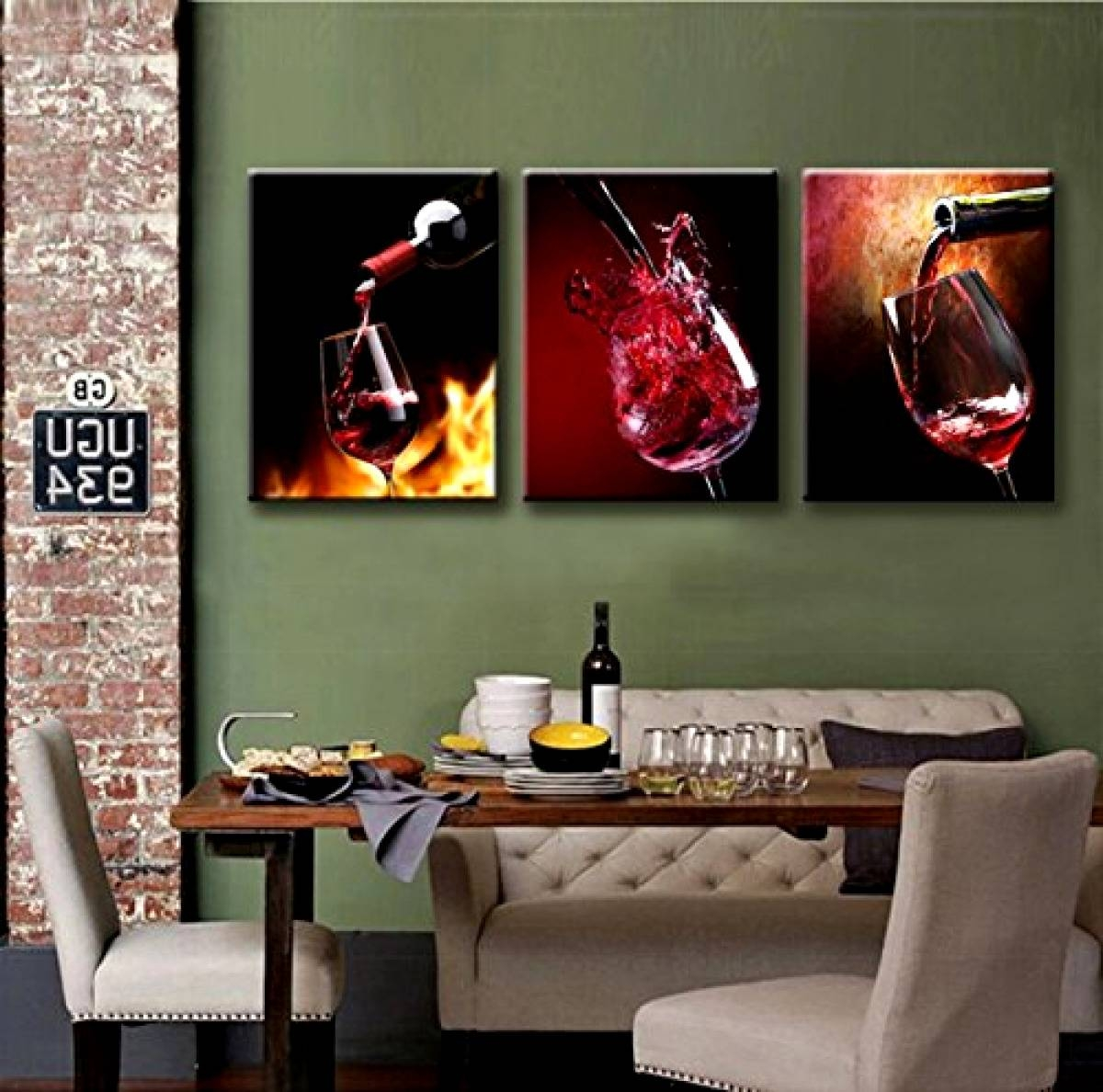 Wine Canvas Prints Wall Art 3 Panels Framed Ready To Hang Kitchen Within 2018 Hang Wall Art Prints (View 15 of 15)