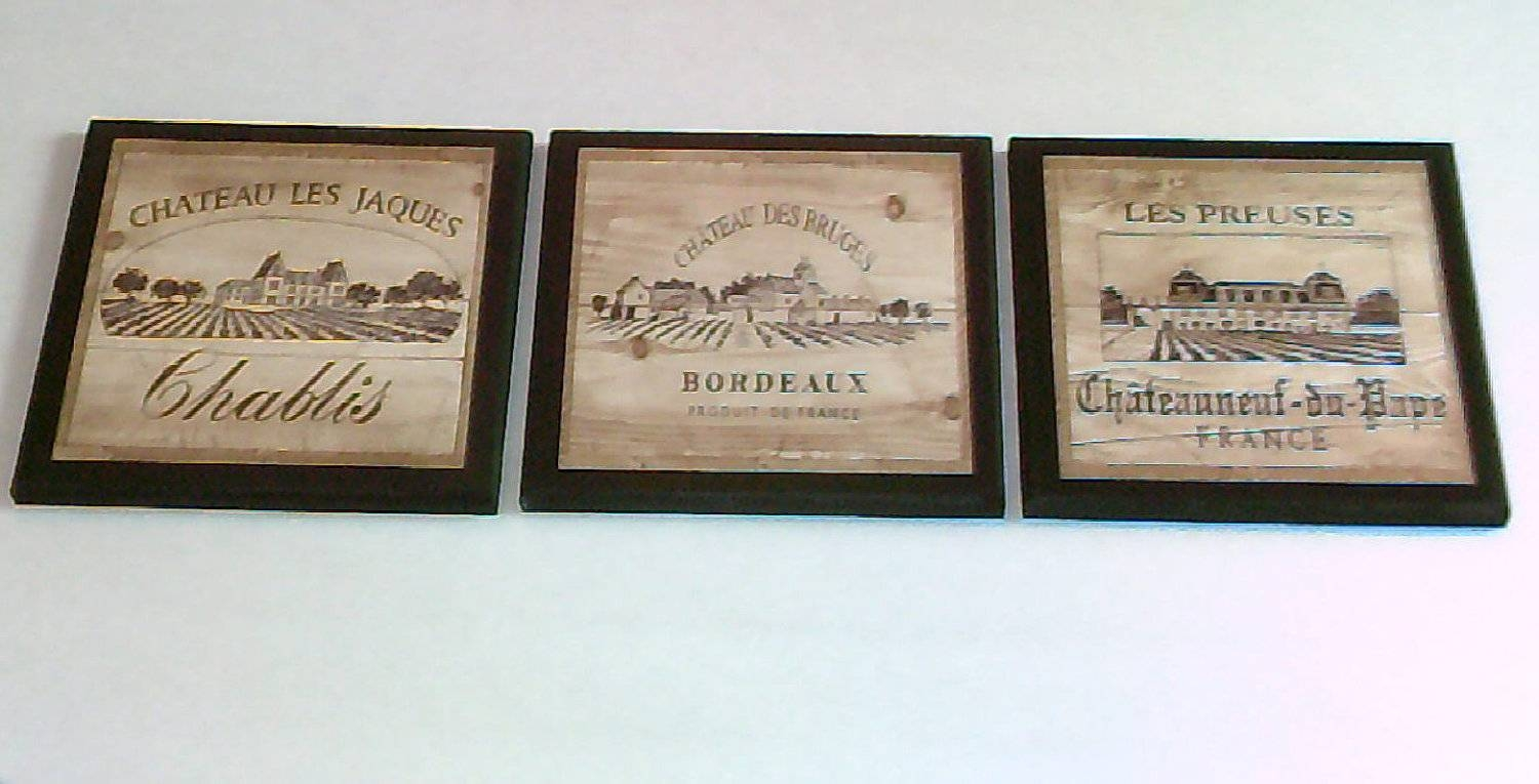 Wine Crate Label Style Kitchen Wall Decor Plaques 3Pc French Pertaining To 2018 Wine Theme Wall Art (View 4 of 20)