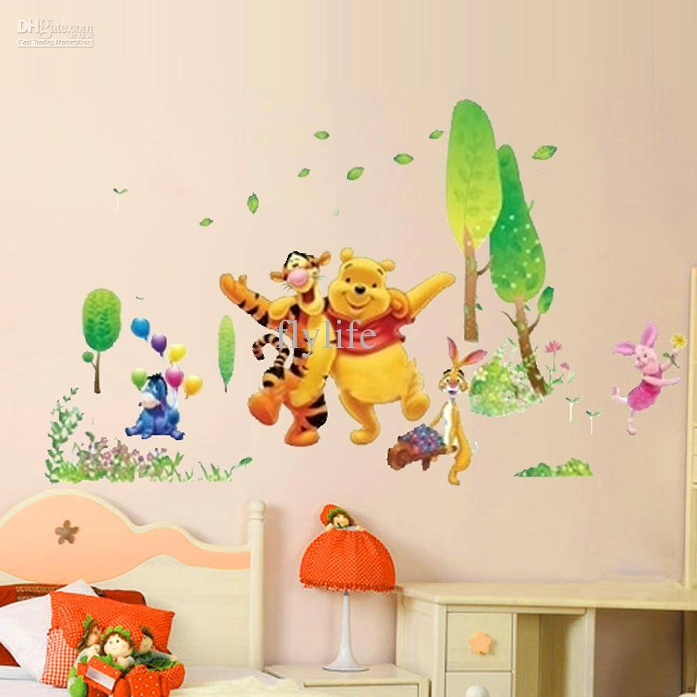 Winnie The Pooh And Happy Animals In Natural World, Cartoon Wall Intended For Most Up To Date Winnie The Pooh Wall Art For Nursery (View 10 of 15)