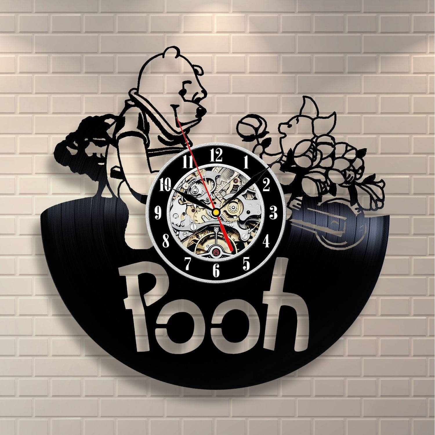 Winnie The Pooh Honey Art Vinyl Record Clock Wall Decor Home Throughout Latest Winnie The Pooh Vinyl Wall Art (View 10 of 20)