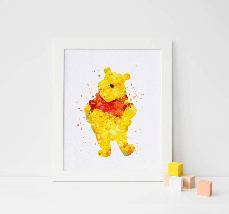 Winnie The Pooh Print Watercolor Winnie The Pooh Wall Art With Regard To Current Winnie The Pooh Wall Art For Nursery (View 14 of 15)