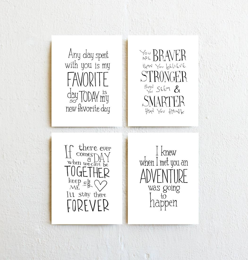 Winnie The Pooh Quote Prints Set Of 4 Inspirational Throughout Most Popular Winnie The Pooh Nursery Quotes Wall Art (View 19 of 20)