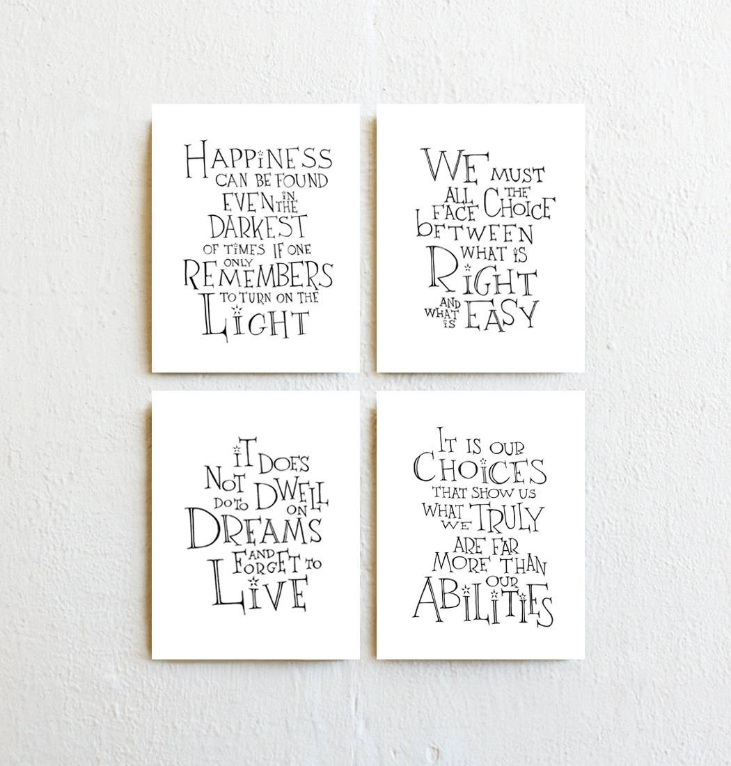 Winnie The Pooh Quote Prints Set Of 4 Inspirational Throughout Recent Winnie The Pooh Nursery Quotes Wall Art (View 20 of 20)