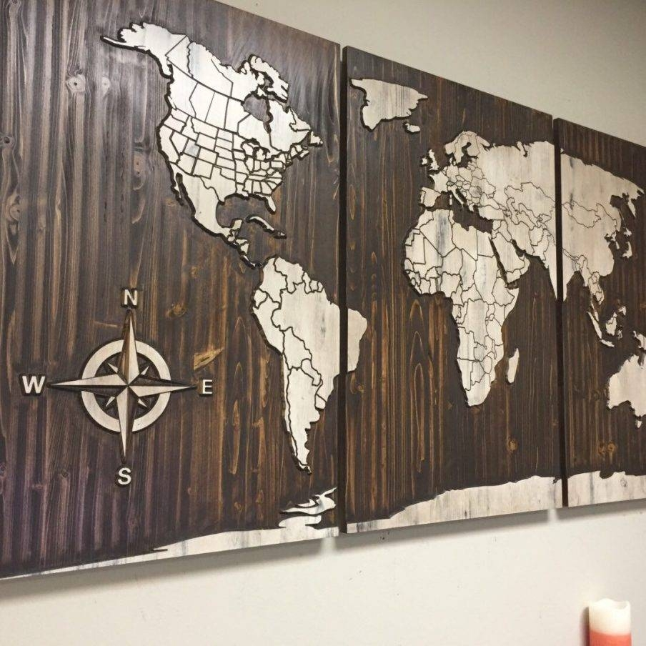 Winsome Large Vintage Wooden Wall Art Best Rustic Wall Art Large Within Most Current World Map Wood Wall Art (View 18 of 20)
