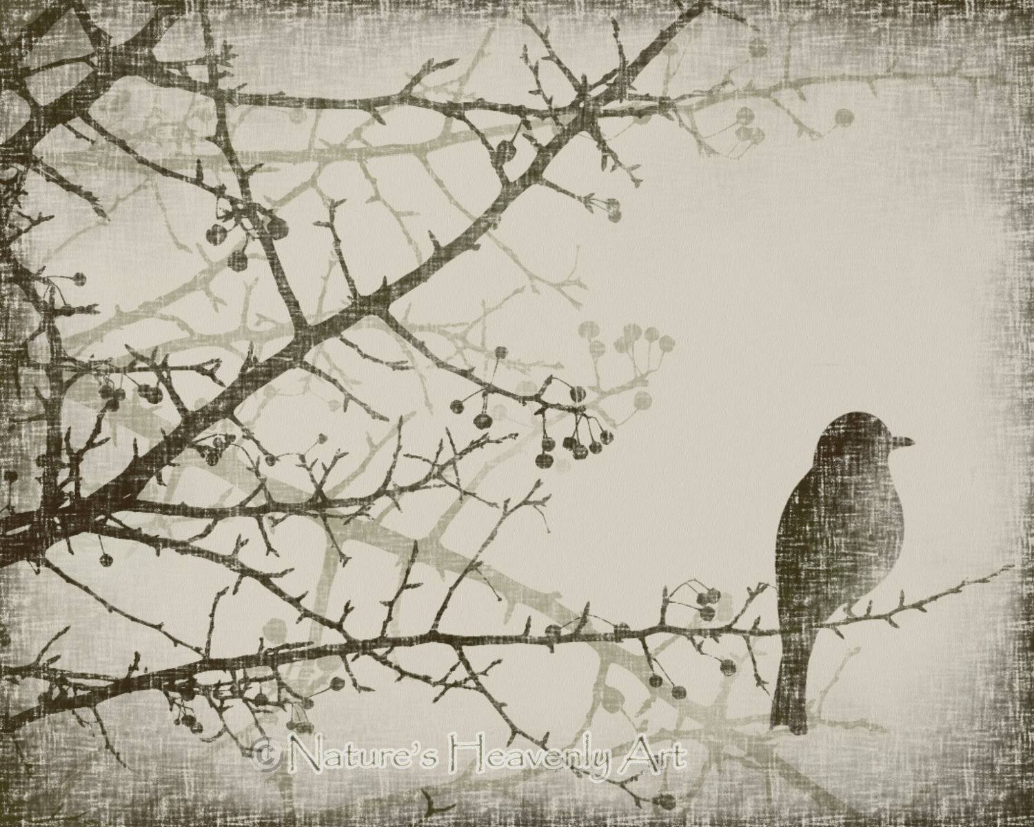 Winter Tree Branch 8 X 10 Art Print Spring Bird Vintage Style Within 2017 Vintage Style Wall Art (View 12 of 20)