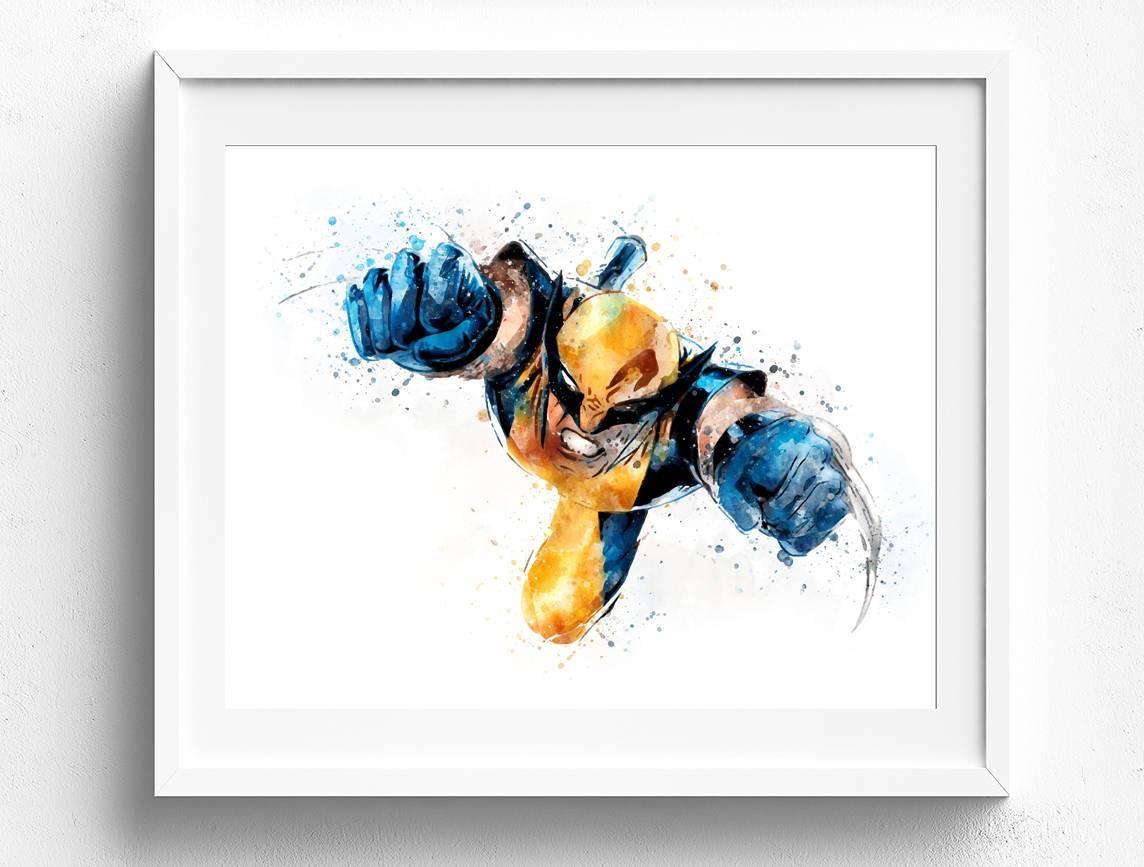 Wolverine Art Wolverine Poster Superhero Art X Men Art Regarding Recent Superhero Wall Art For Kids (View 8 of 25)