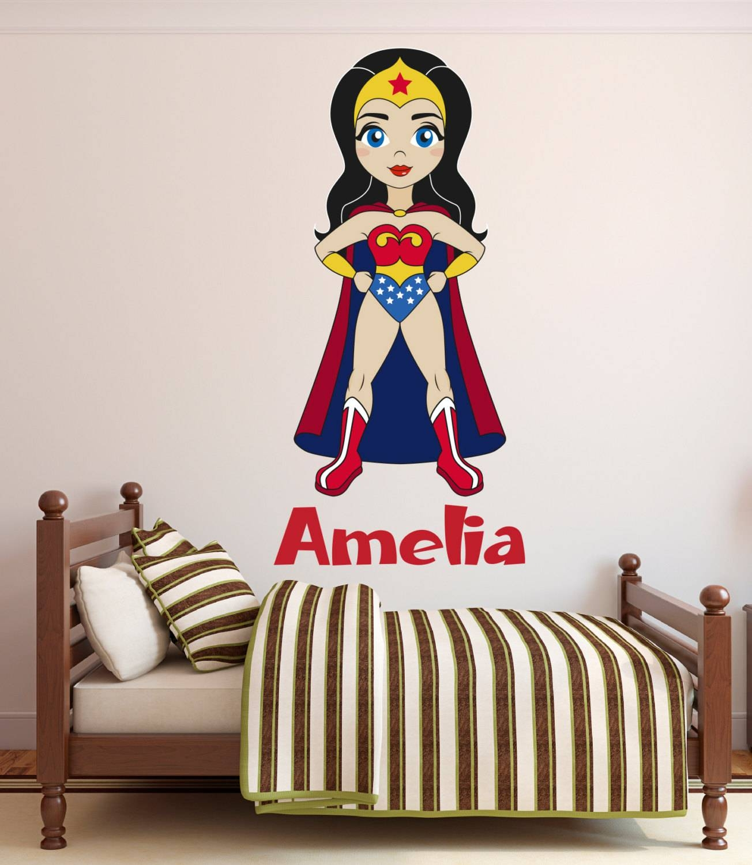 Wonder Woman Wall Decal Custom Name Wall Decal Wonder Girl With 2018 Superhero Wall Art For Kids (View 15 of 25)