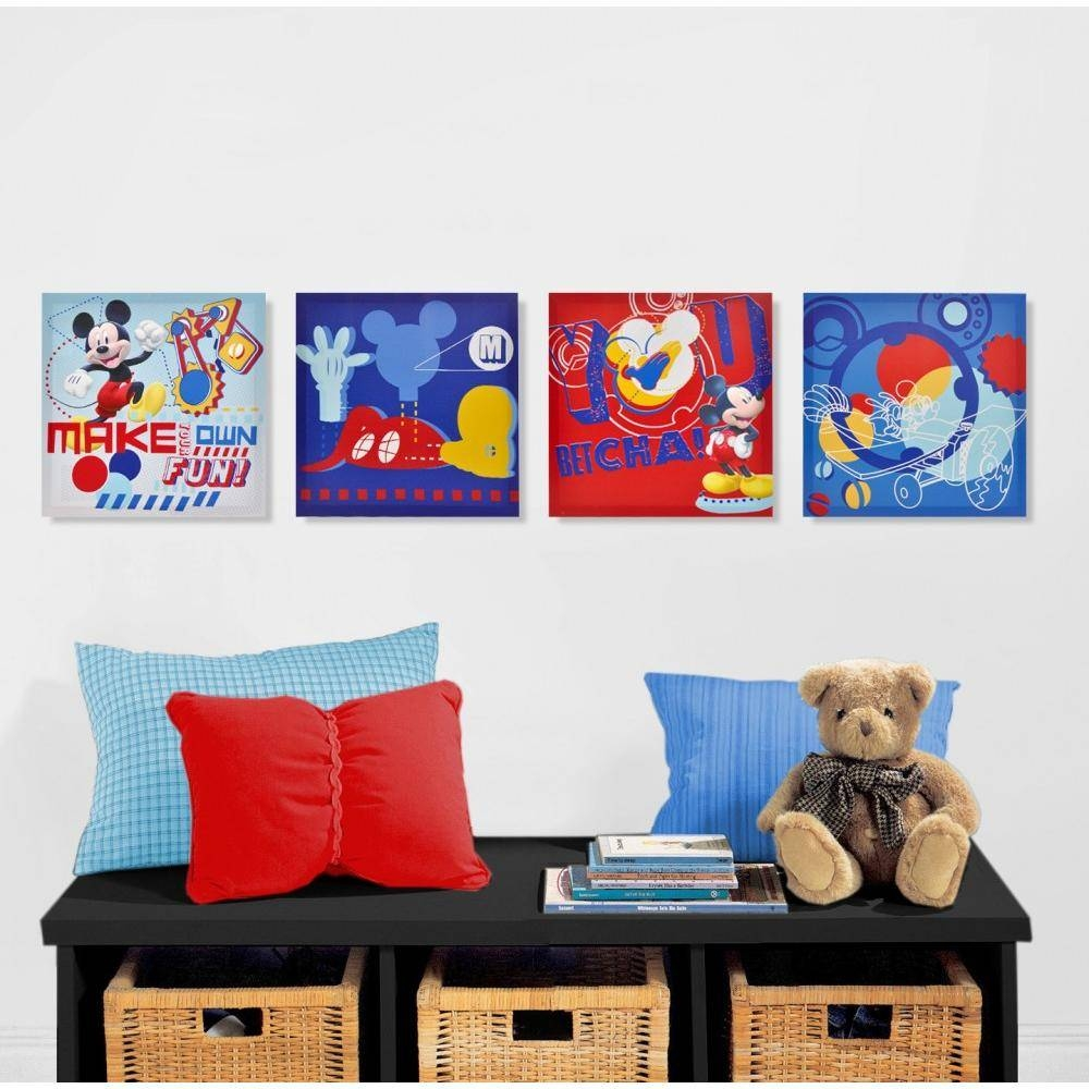 Wonderful Disney Mickey Mouse Canvas Wall Art (4 Piece) Over Post Throughout Most Up To Date Disney Canvas Wall Art (View 19 of 20)