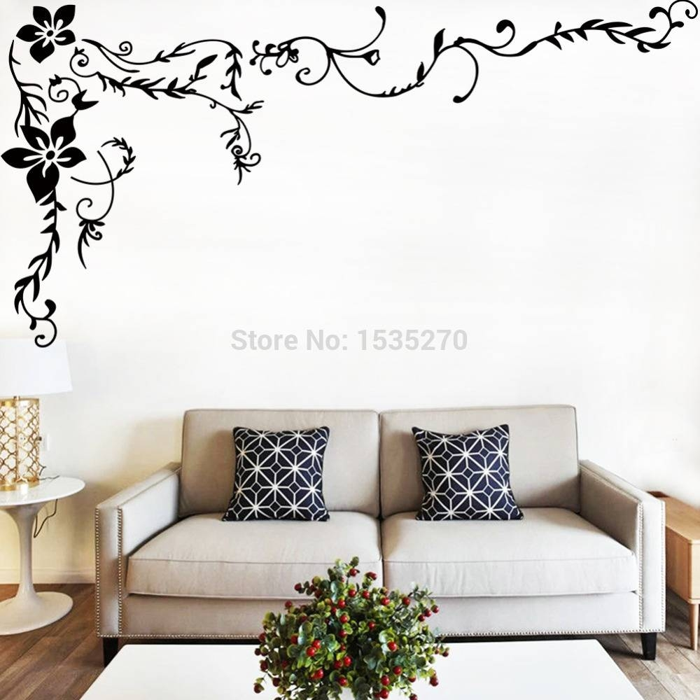 Wonderful Flower Vine Wall Stickers For Home Tv Background Wall With Regard To 2017 Pattern Wall Art (View 9 of 20)