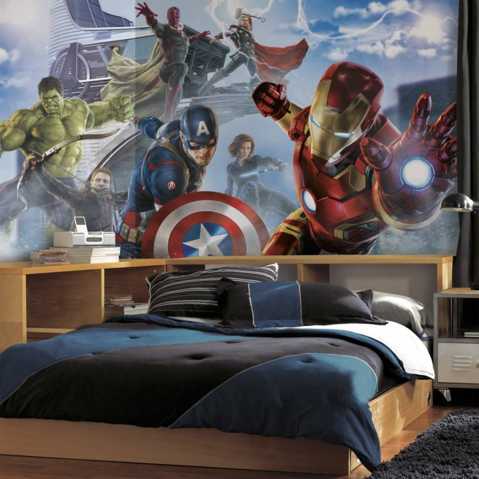 Wonderful Kids Bedroom With Superhero Wall Decals Combined Open In 2018 Superhero Wall Art For Kids (View 25 of 25)