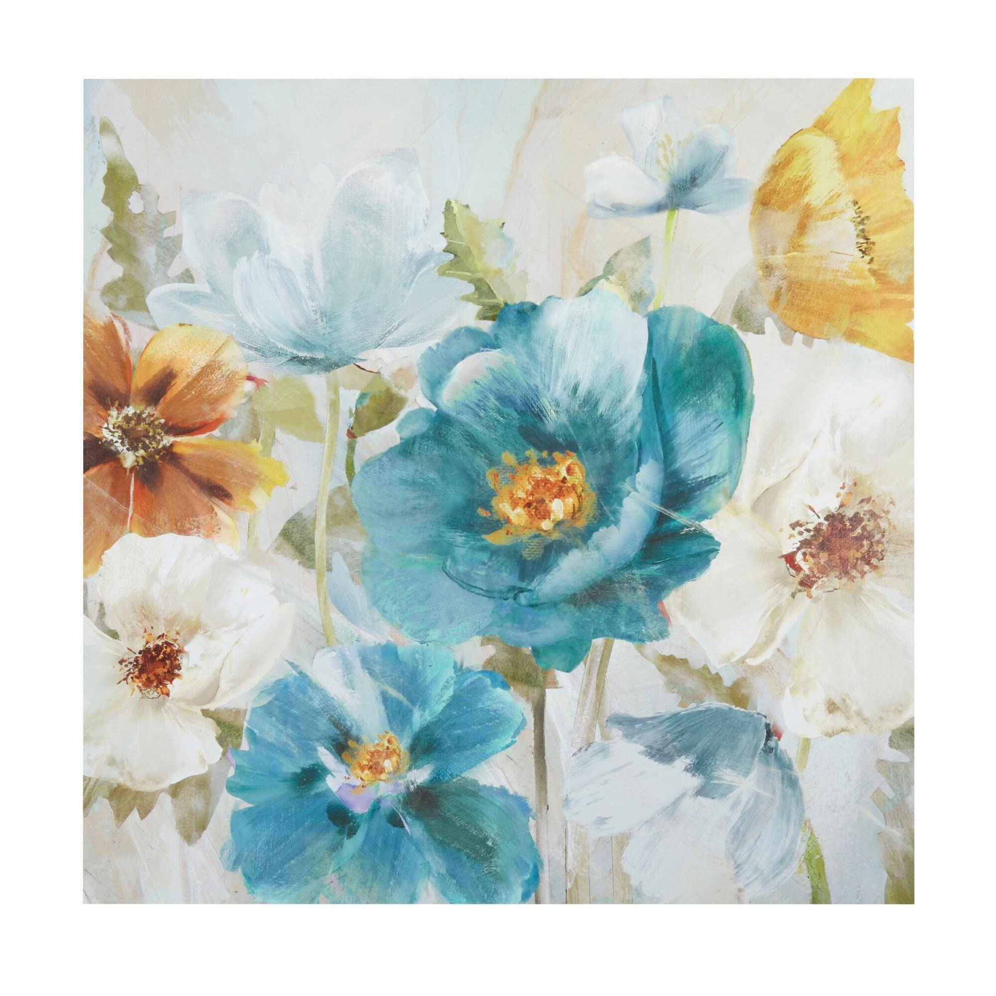 Wonderful Teal Flower Canvas Art Floral Delight Canvas Wall Blue Inside Newest Teal Flower Canvas Wall Art (View 11 of 20)