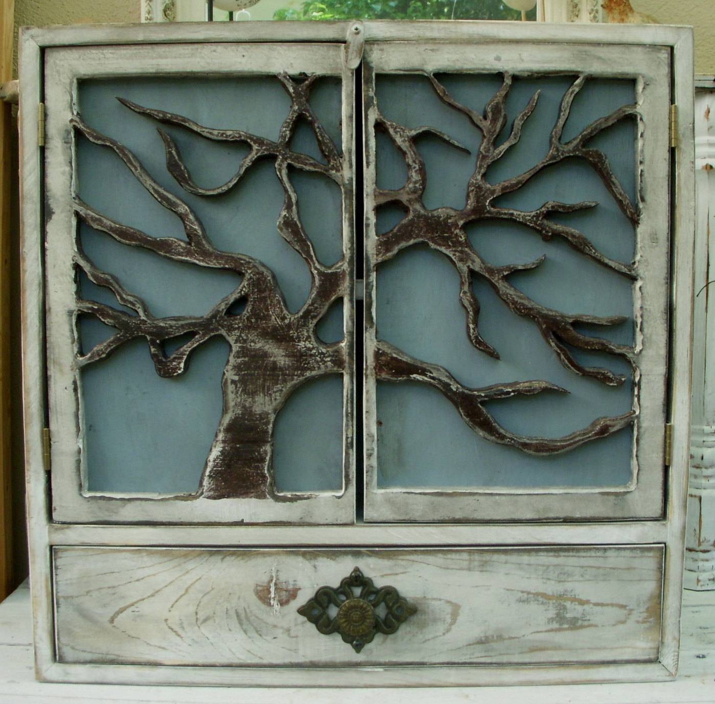Wood Cabinet Shelf Tree Art Oak Door Artistic Throughout Most Popular Oak Tree Wall Art (View 30 of 30)