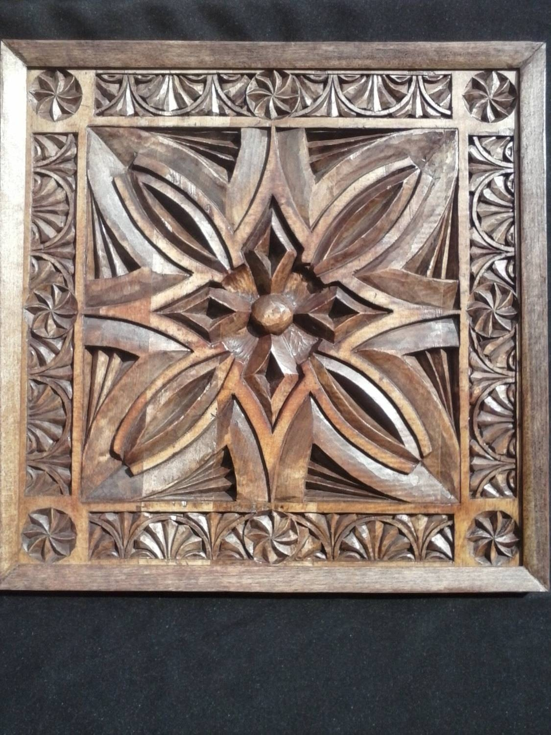 Wood Carving Wall Art Panel Chip Carvedhand In Tulip Wood And Throughout  Most Recently Released Wood