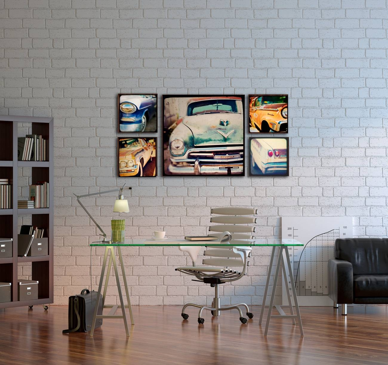 Wood Photo Blocks Vintage Cars Home Decor Wall Art Within Recent Wall Art For Offices (View 11 of 20)