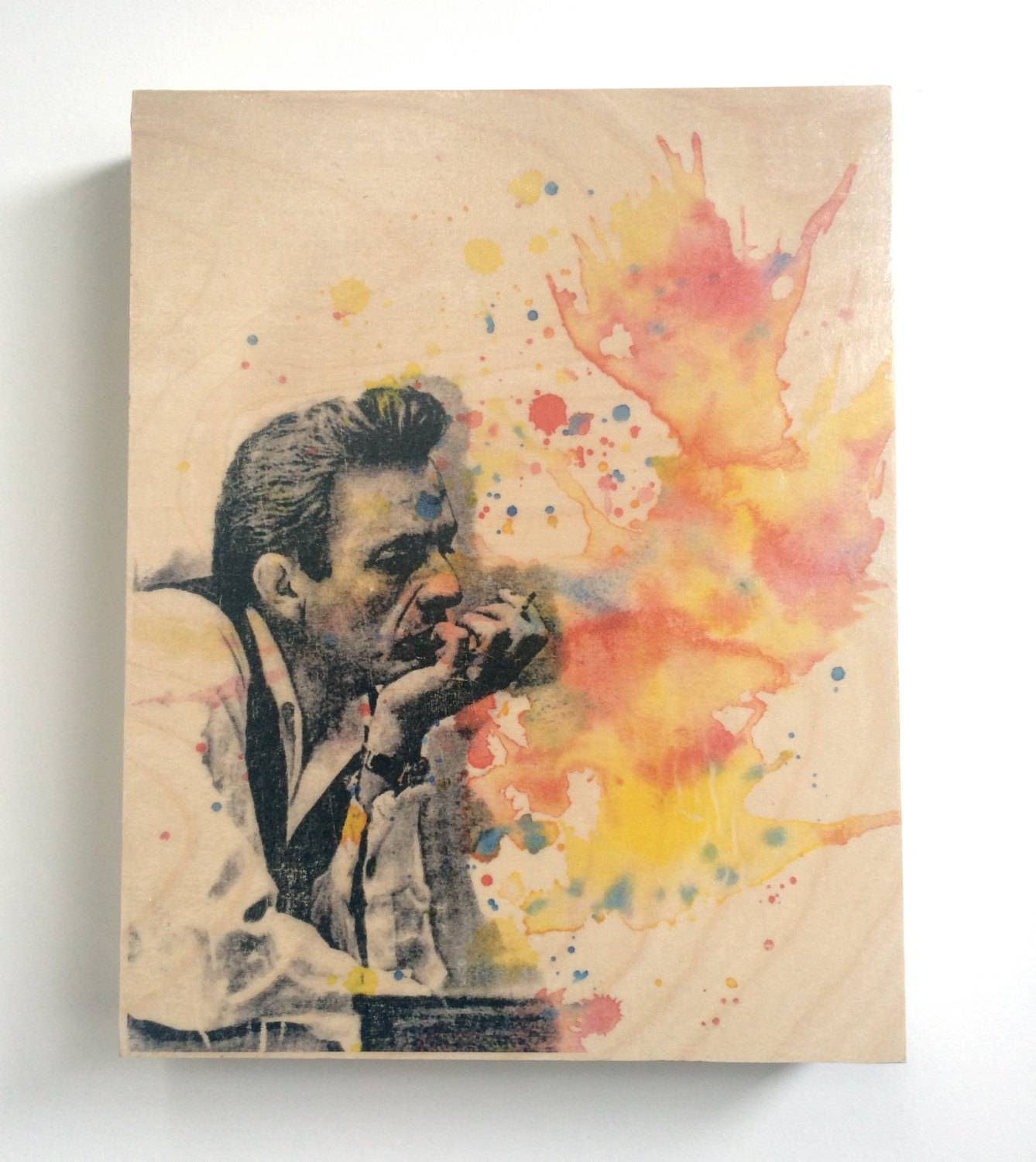 Wood Wall Art Panel Johnny Cash Art Print From Original Within Recent Wooden Wall Art Panels (View 17 of 20)