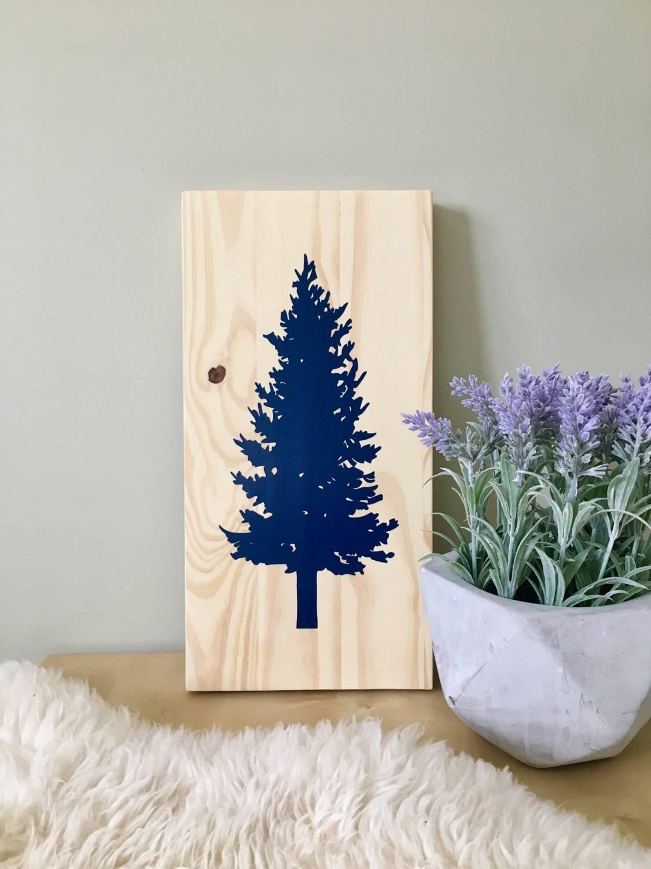 Wood Wall Art Tree Painting Spruce Tree Pine Tree Tree Inside Current Pine Tree Wall Art (View 17 of 30)