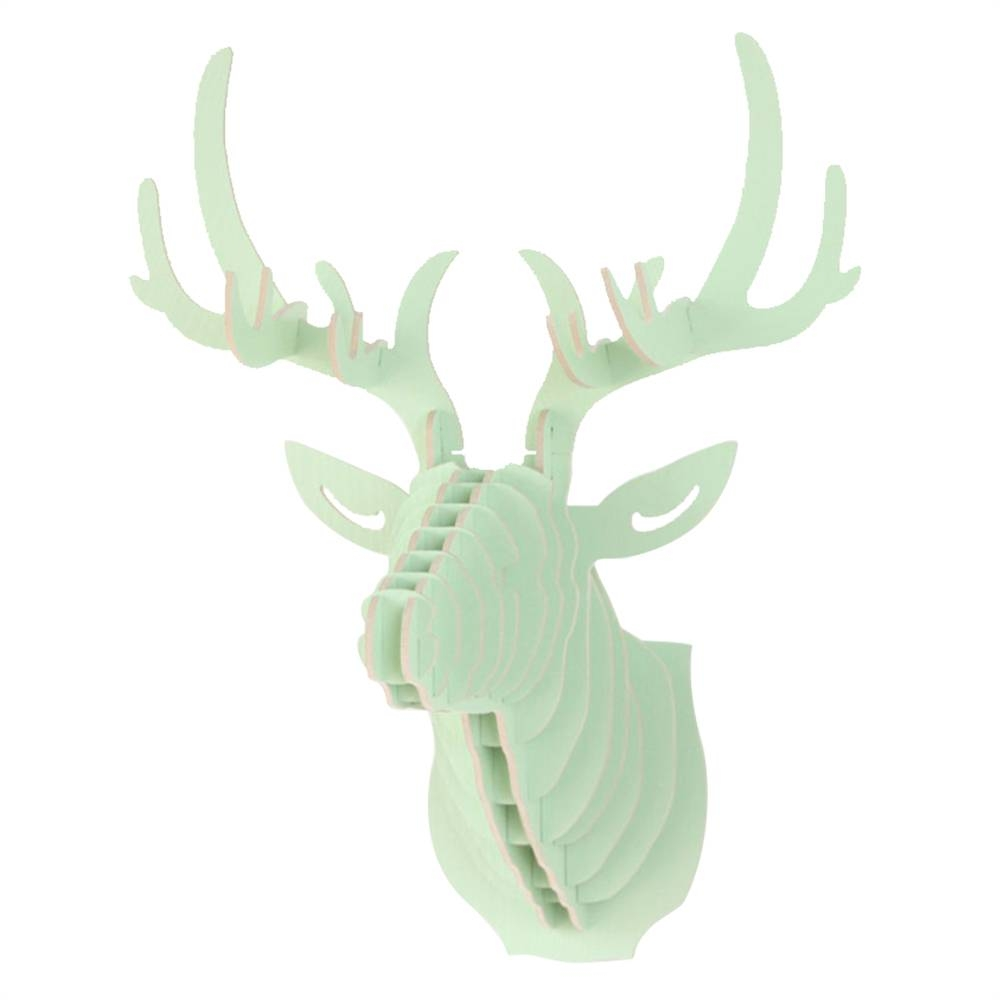 Wooden Deer Head Moose Wall Art Hanging 3d Stag Head Antlers Throughout Most Recent Stag Head Wall Art (View 10 of 20)