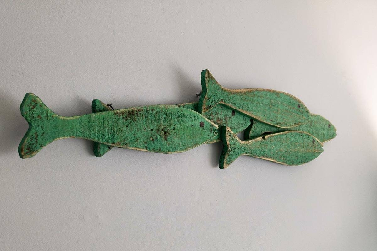 Wooden Fish Shoal Mini Wall Art | Sea & Beach Themed Nautical Inside Most Current Fish Shoal Wall Art (Gallery 7 of 25)