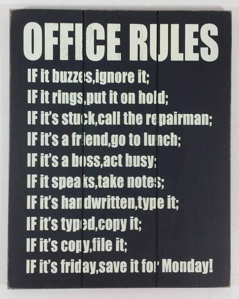 Wooden Wall Art – Office Rules Sign With Newest Wall Art For Offices (View 20 of 20)