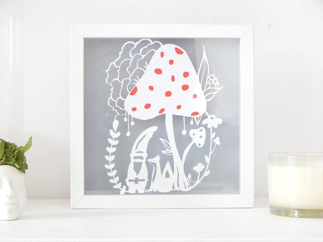 Woodland Scene Art. Gnome And Fox Paper Cut Out. Mushroom With Recent Mushroom Wall Art (Gallery 4 of 20)