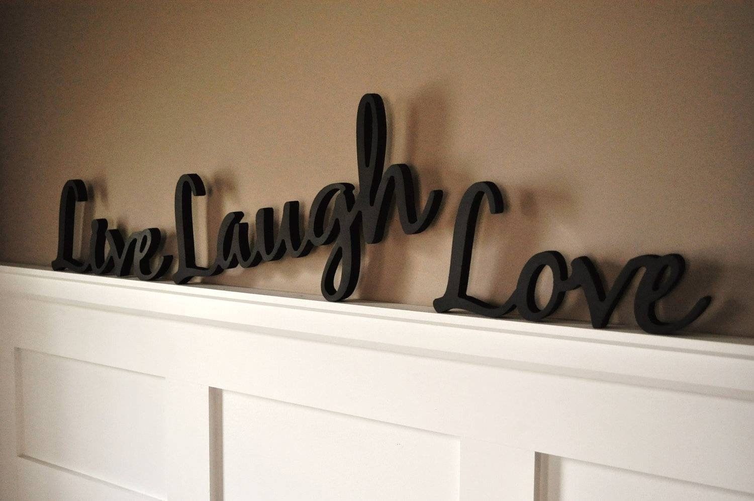 Word Art Wood 3d Cutout 'live Laugh Love' Setmrc For Current 3d Wall Art Words (View 16 of 20)