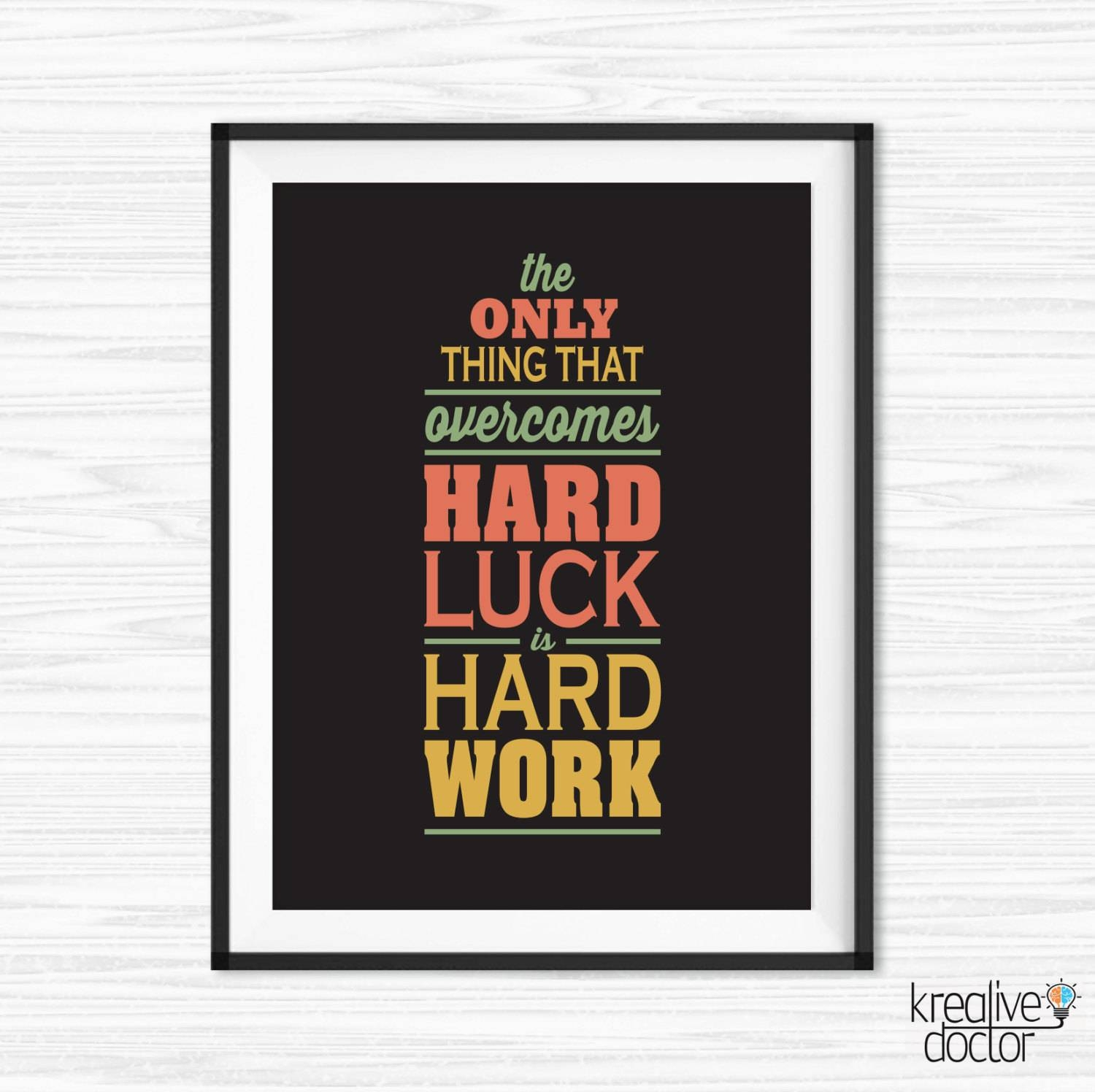 Work hard quote office wall art motivational wall decor with regard to most up to date