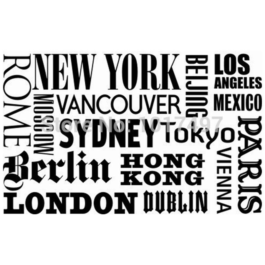 World City Names Vinyl Wall Art Decals New York London Paris With Regard To 2017 Paris Vinyl Wall Art (View 17 of 20)