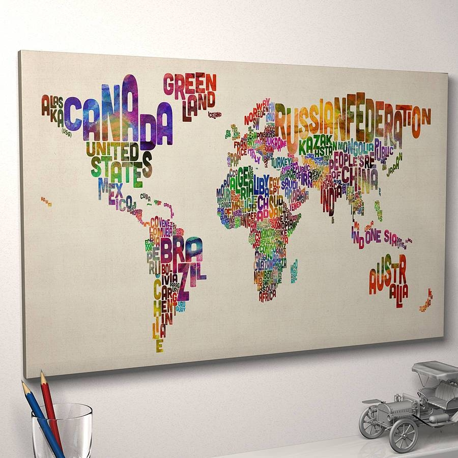 World Map Canvas Wall Art Picture Print With World Map Canvas Art For Newest Typography Canvas Wall Art (View 14 of 20)