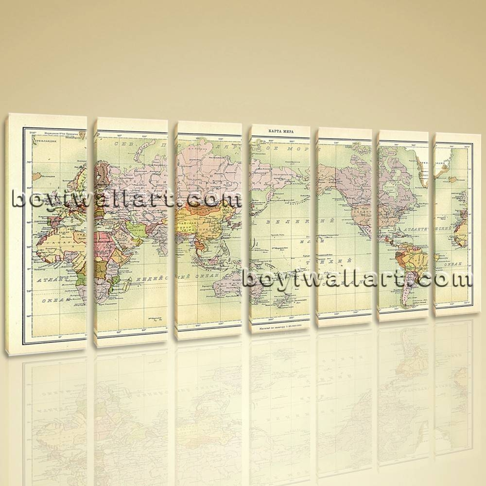 World Map Global Atlas Hd Print On Canvas Modern Wall Art Home Decor Regarding Most Current Modern Oversized Wall Art (View 20 of 20)