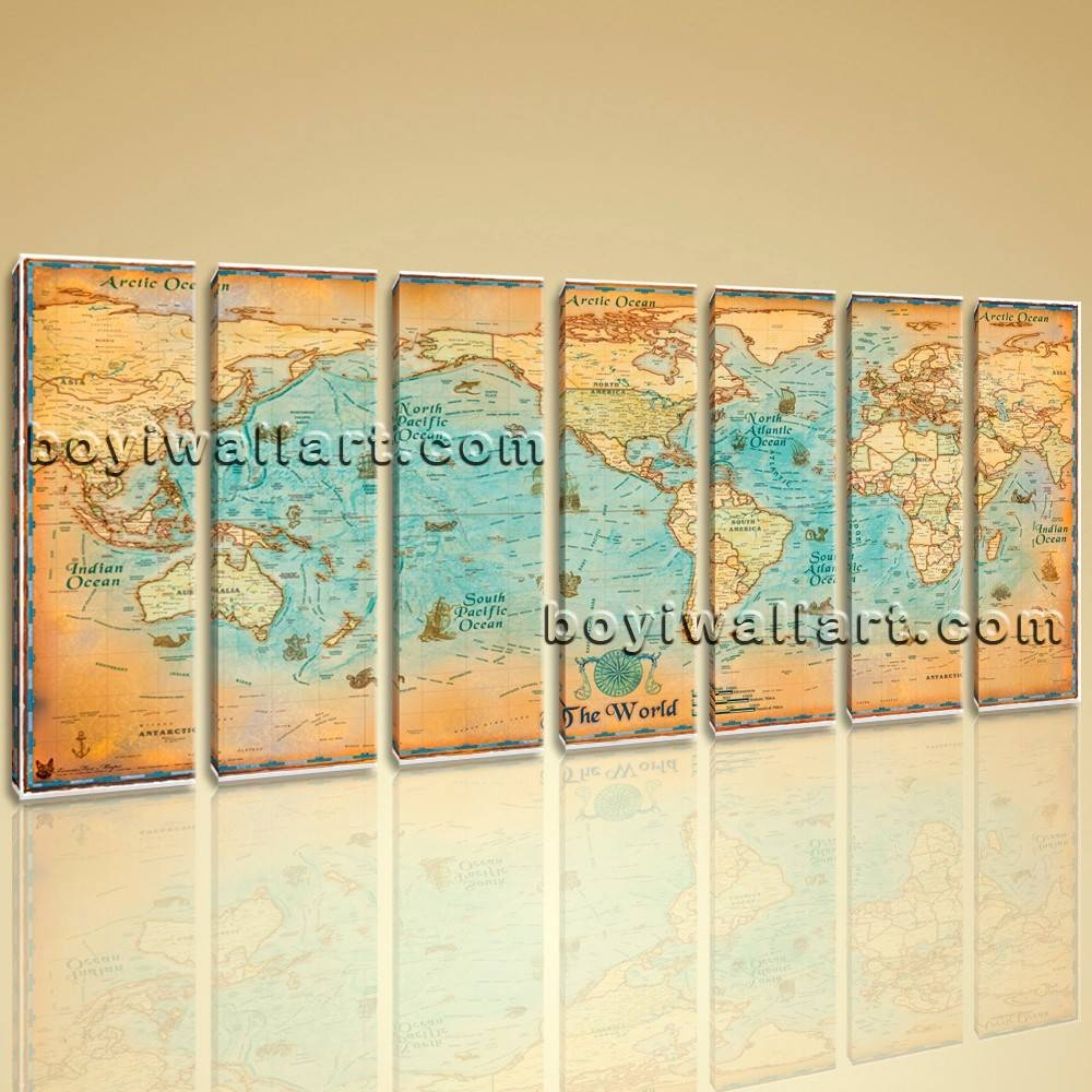 World Map Global Hd Canvas Print Retro Giant Picture Wall Art Decor Inside Recent Map Wall Art (View 16 of 25)