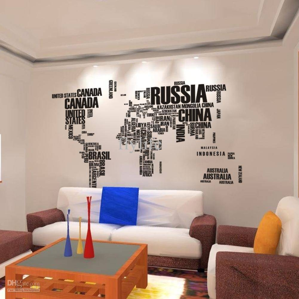 World Map Wall Stickers , Home Art Wall Decor Decals For Living With Regard To Most Up To Date World Wall Art (View 18 of 20)