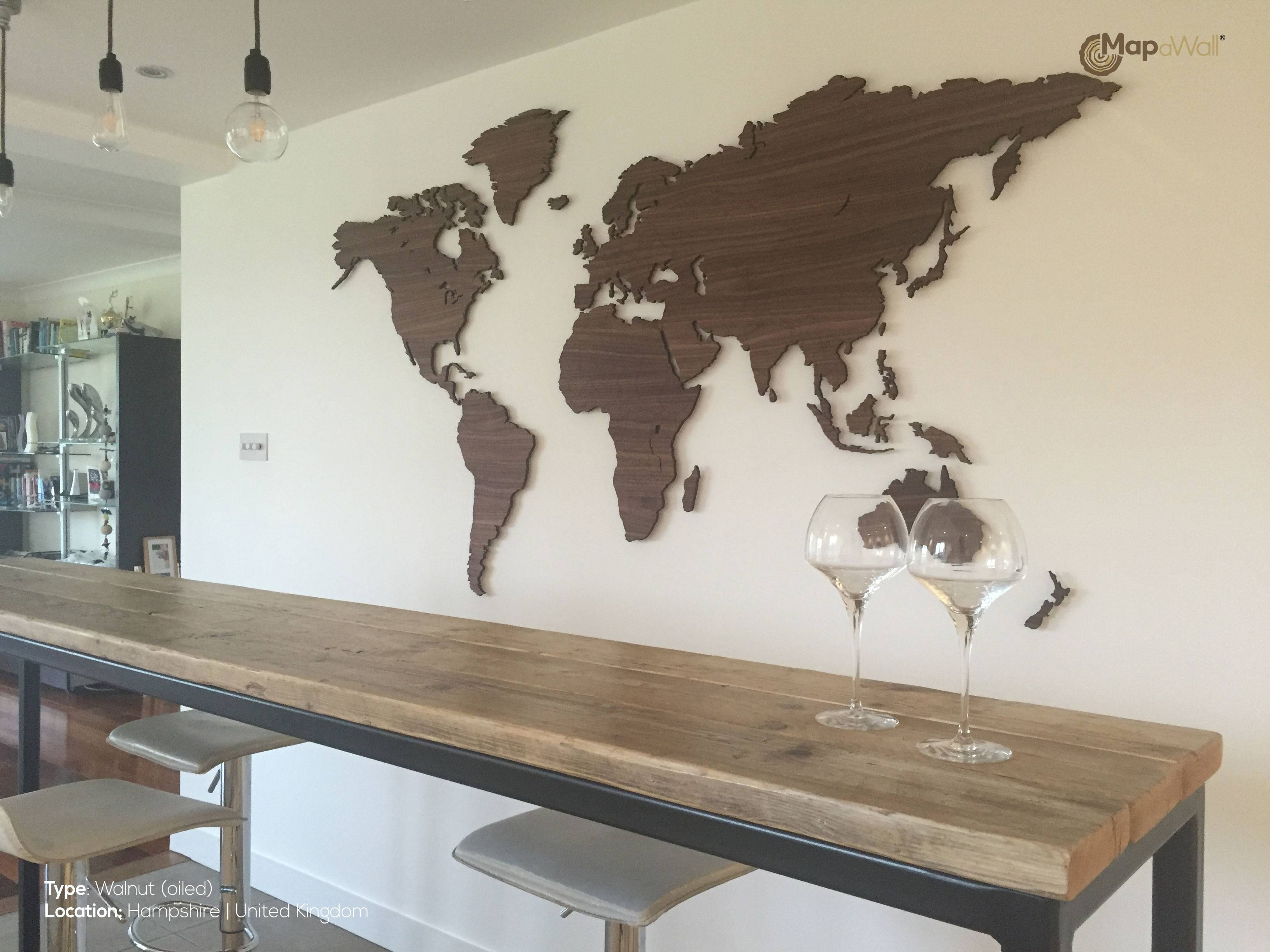 World Map Walnut Country Borders – Mapawall Pertaining To Latest Wooden World Map Wall Art (View 18 of 20)