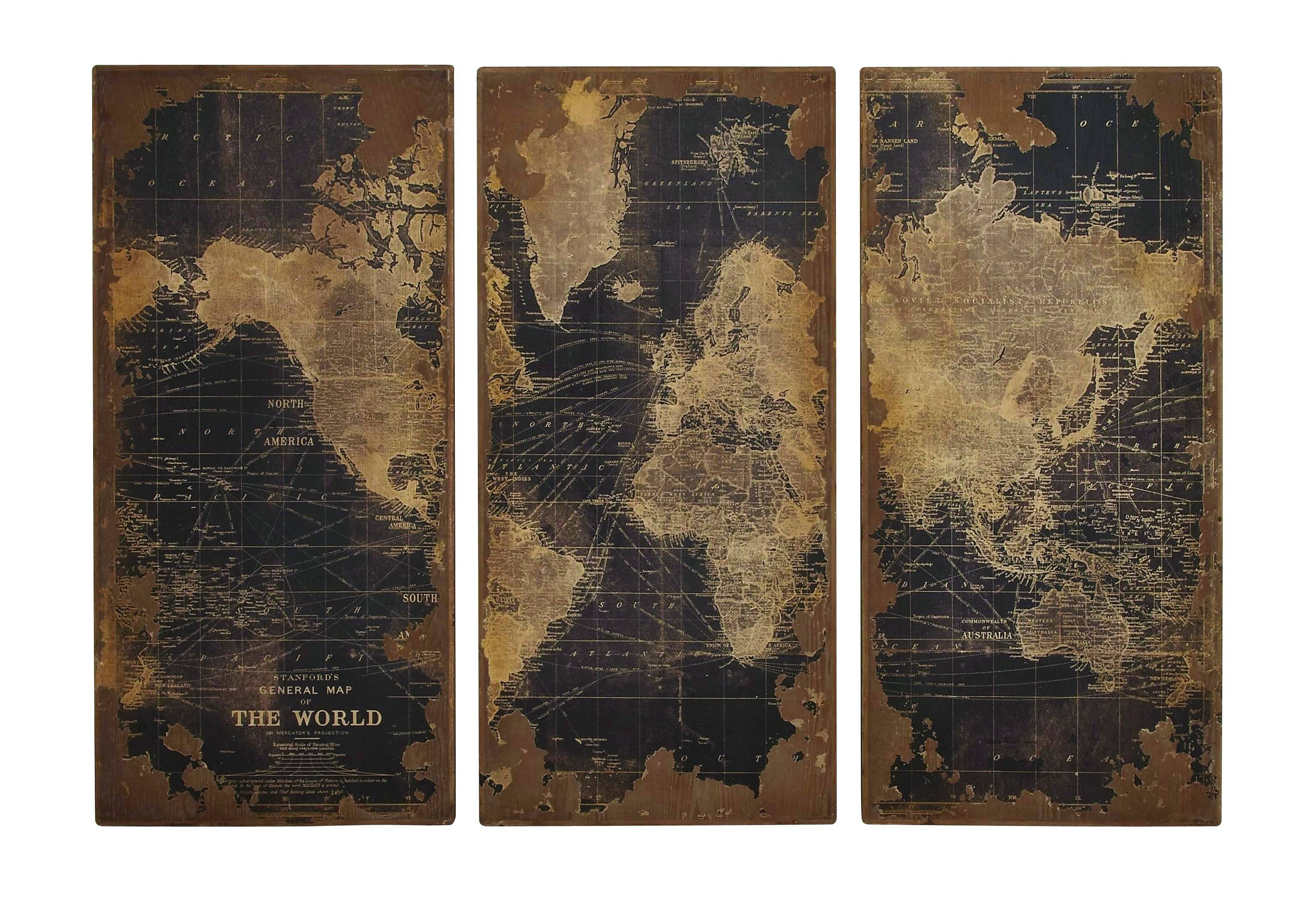 World Map Wood Wall Panels With Regard To Current Old World Map Wall Art (View 19 of 20)