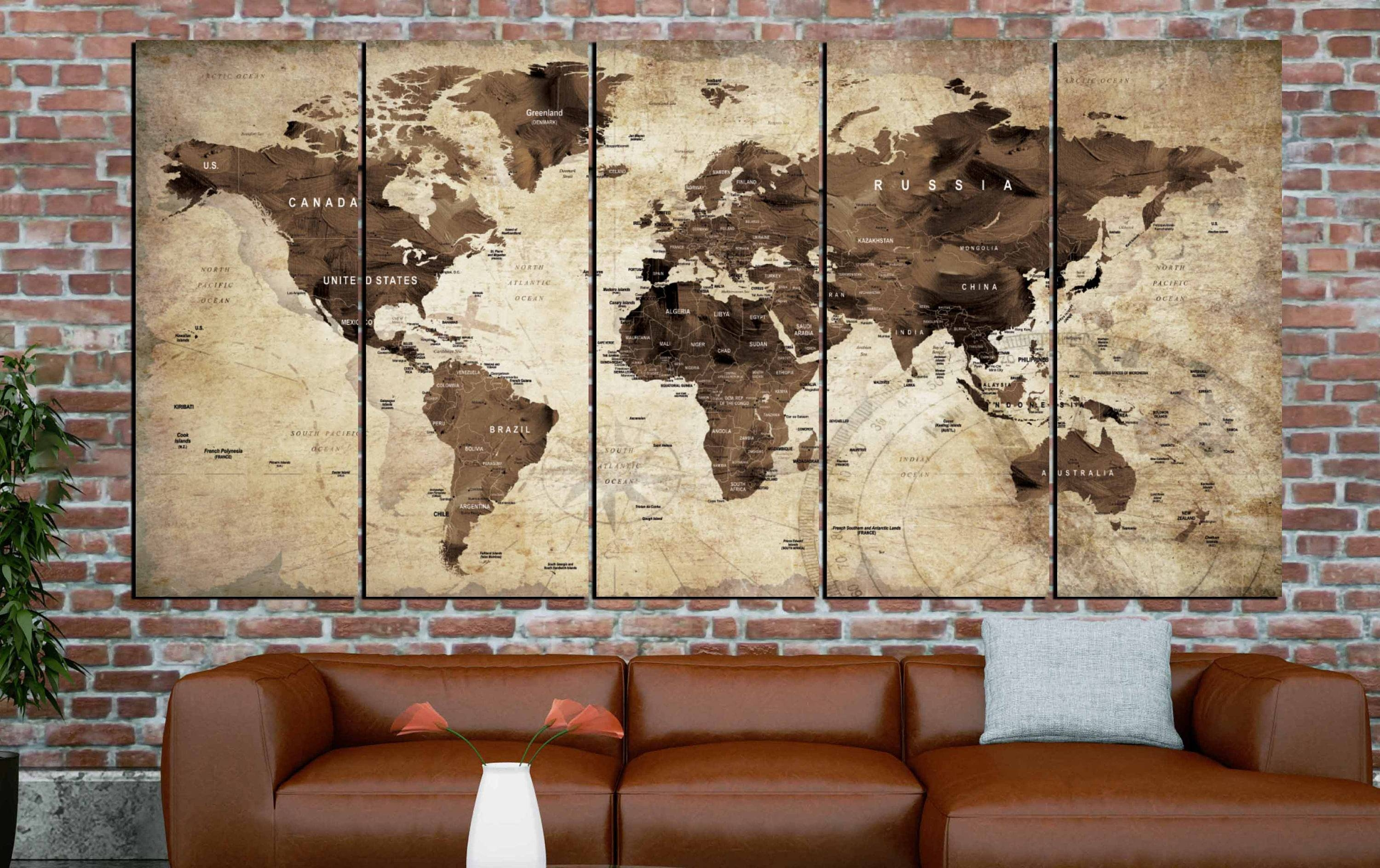 World Map,world Map Vintage,vintage Map Art,world Map Wall Art Pertaining To 2018 Vintage Map Wall Art (View 5 of 20)