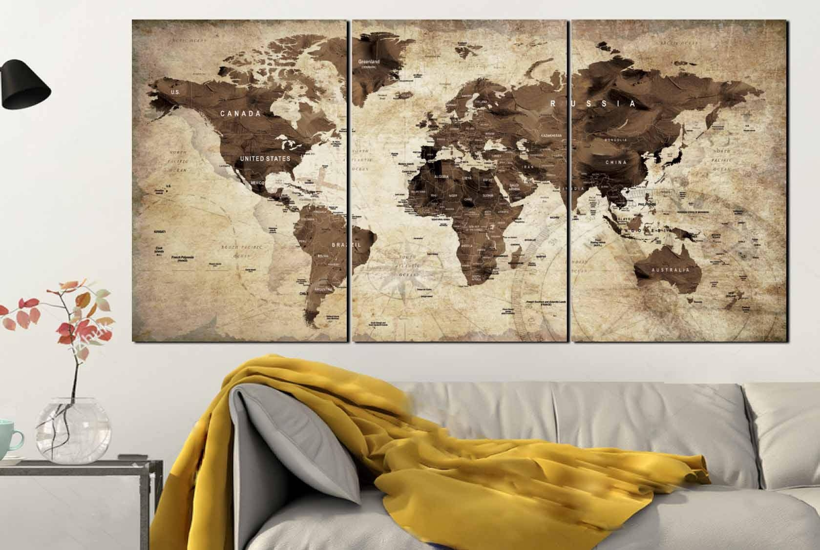 World Map,world Map Vintage,vintage Map Art,world Map Wall Art Pertaining To Current Us Map Wall Art (View 17 of 20)