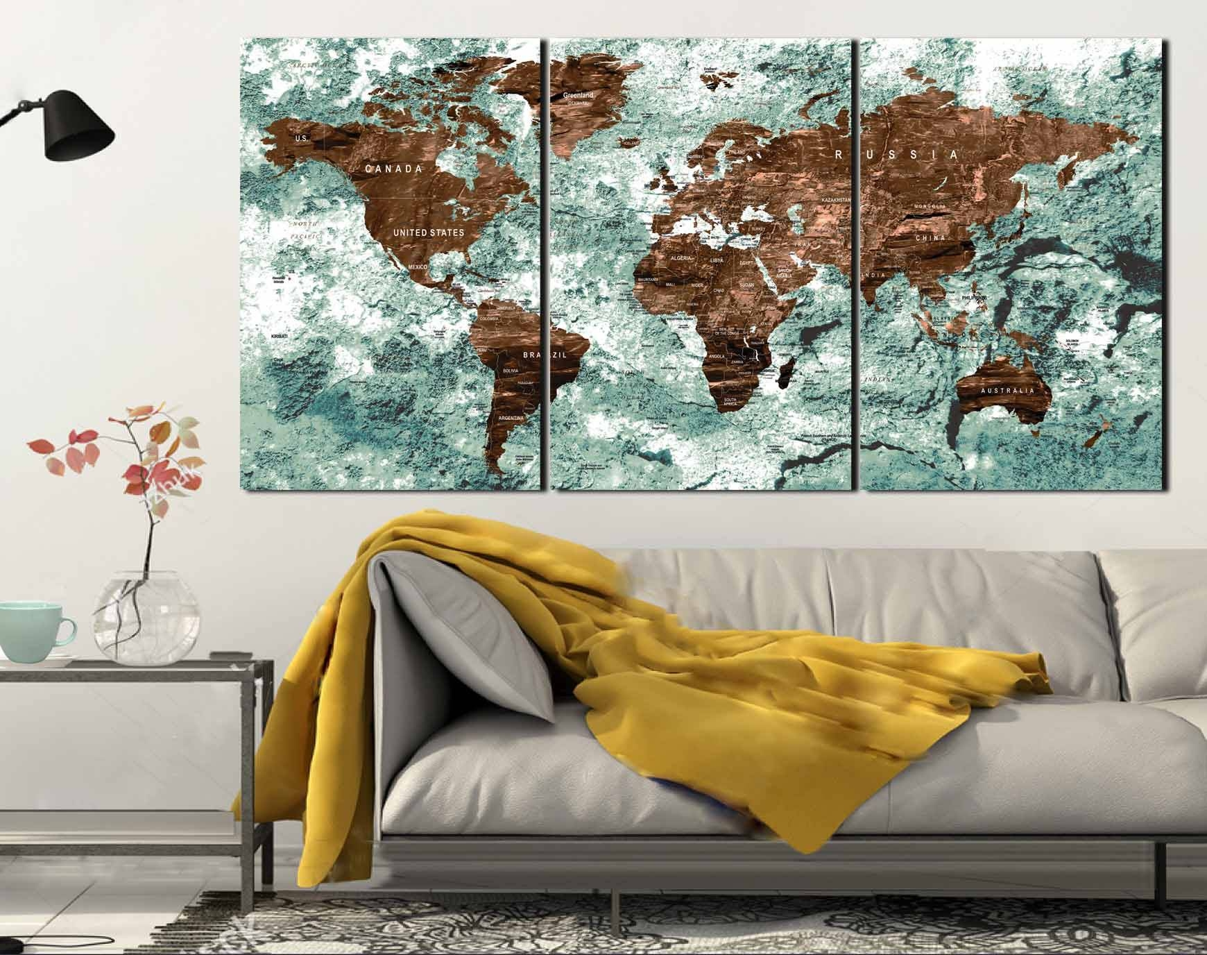 World Map,world Map Wall Art,world Map Canvas,world Map Push Pin Intended For Best And Newest World Wall Art (View 11 of 20)