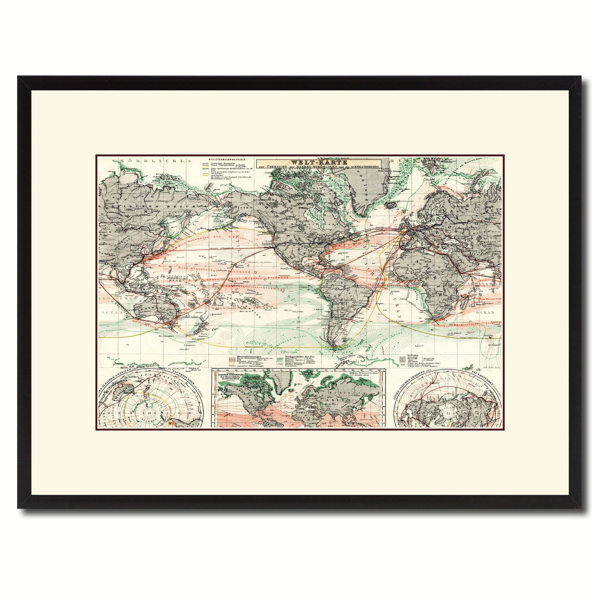 World Ocean Currents Vintage Antique Map Wall Art Home Decor Gift With Most Recent Map Wall Art (View 12 of 25)
