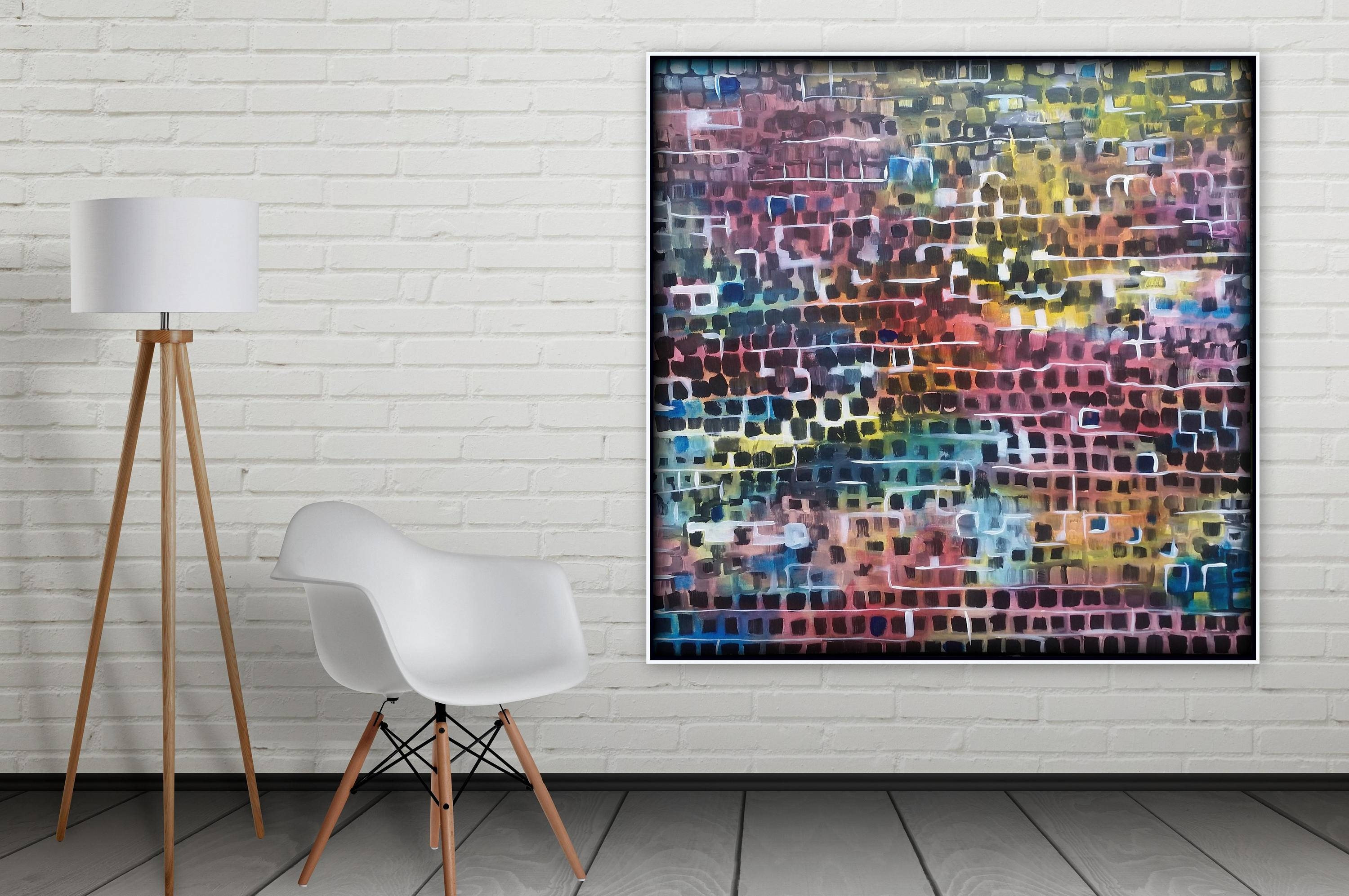 Xl 48 X 48 Original Abstract Painting Cubism, Contemporary Large In Current 48X48 Canvas Wall Art (View 20 of 20)