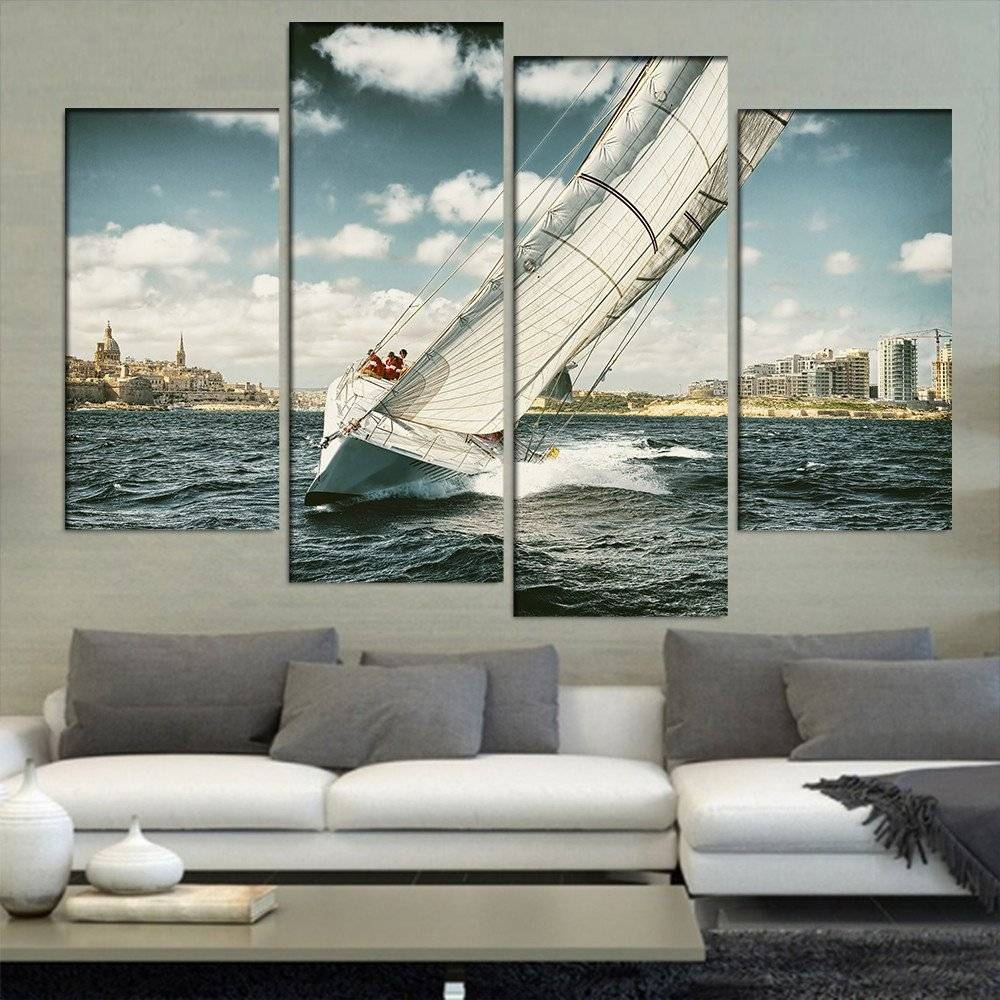 Yacht Illustration In Coastal Area 4 Pieces/sets Canvas Art Canvas Intended For Most Recent Coastal Wall Art Canvas (Gallery 17 of 20)