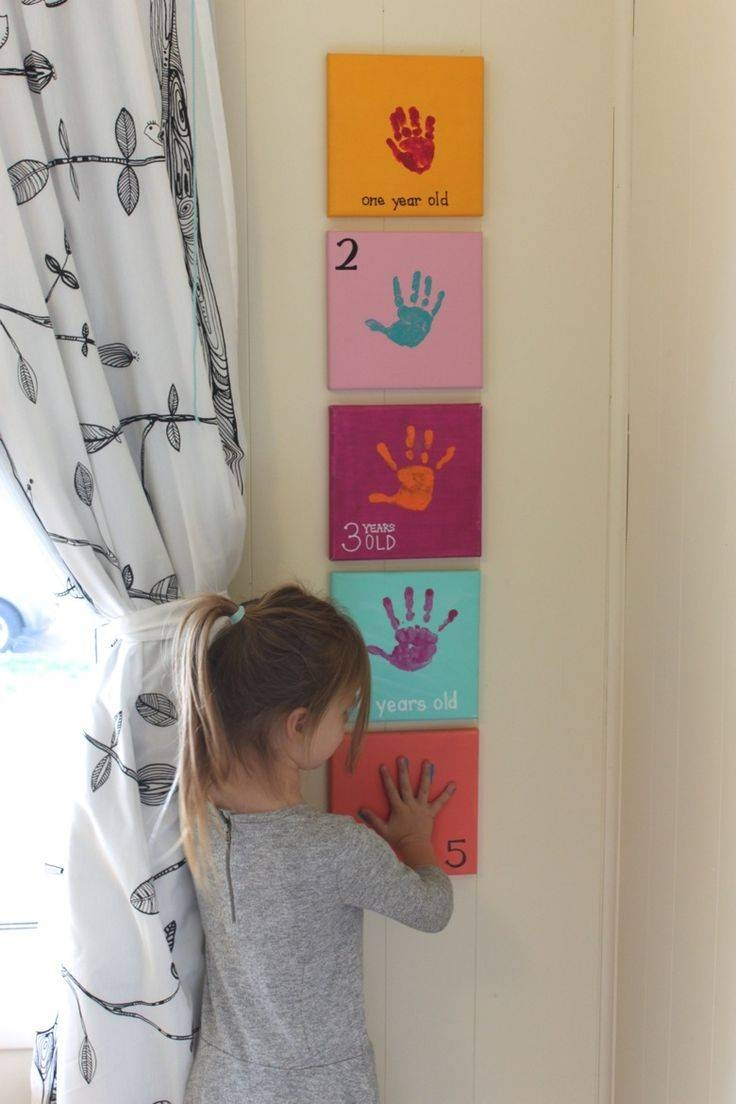 Yearly Handprint Canvas – I Like The Idea, But Maybe Just Do It On With 2017 Canvas Prints For Baby Nursery (Gallery 19 of 20)