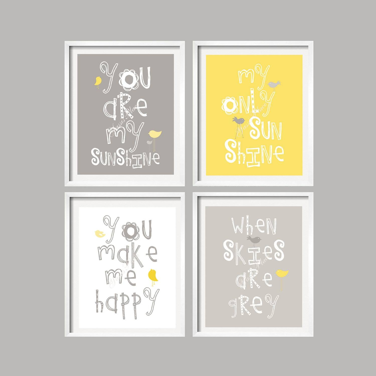 Yellow And Gray Art Prints You Are My Sunshine Nursery Wall Throughout Recent Gray And Yellow Wall Art (View 16 of 20)