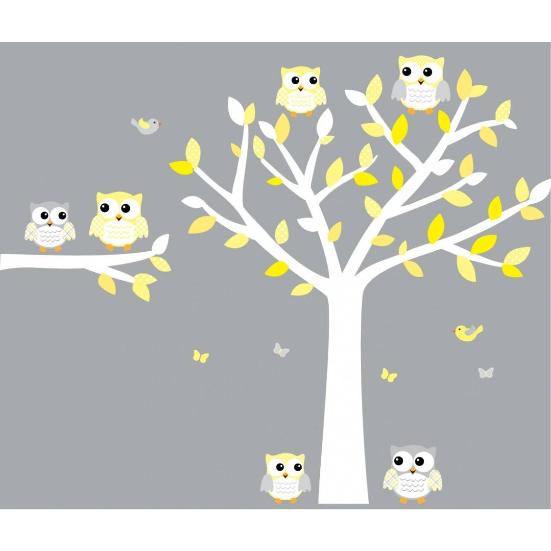 Yellow And Gray Owl Art For Kids With Tree Decal For Girls Intended For 2018 Owl Wall Art Stickers (View 14 of 15)