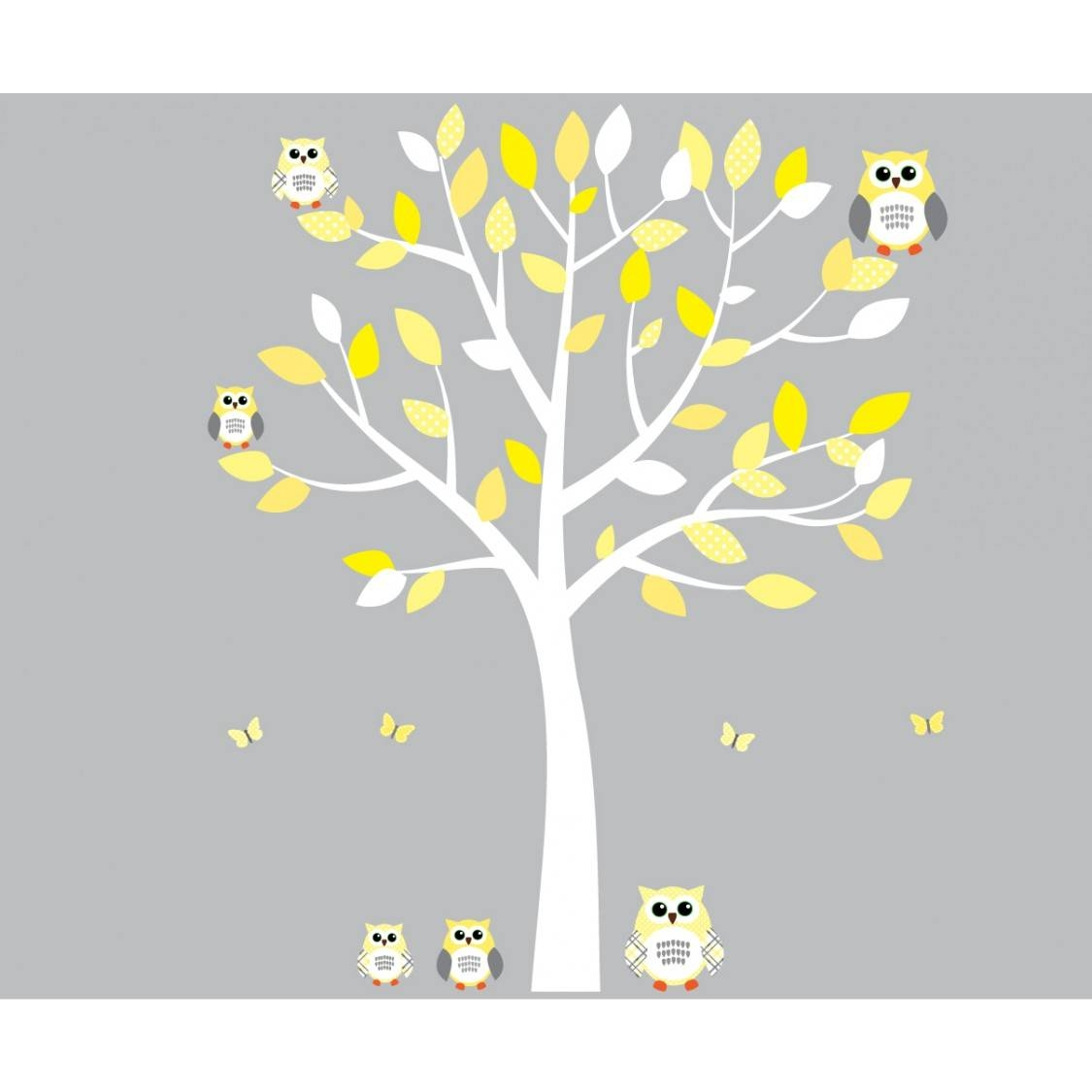 Yellow And Grey Owl Wall Art With White Tree Wall Decal For Girls Pertaining To 2018 Yellow And Grey Wall Art (View 19 of 25)