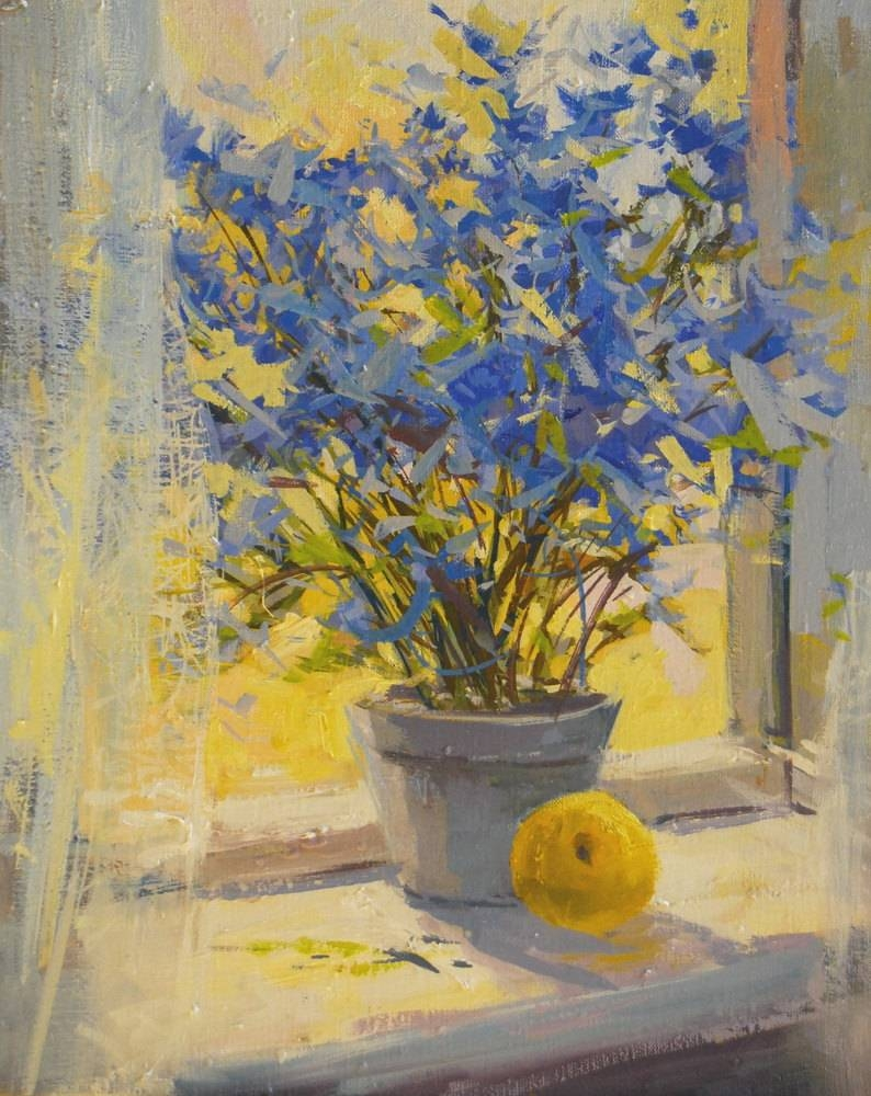 Yellow Blue Flowers Painting Print Floral Canvas Art Yellow In Most Recently Released Yellow And Blue Wall Art (View 2 of 20)