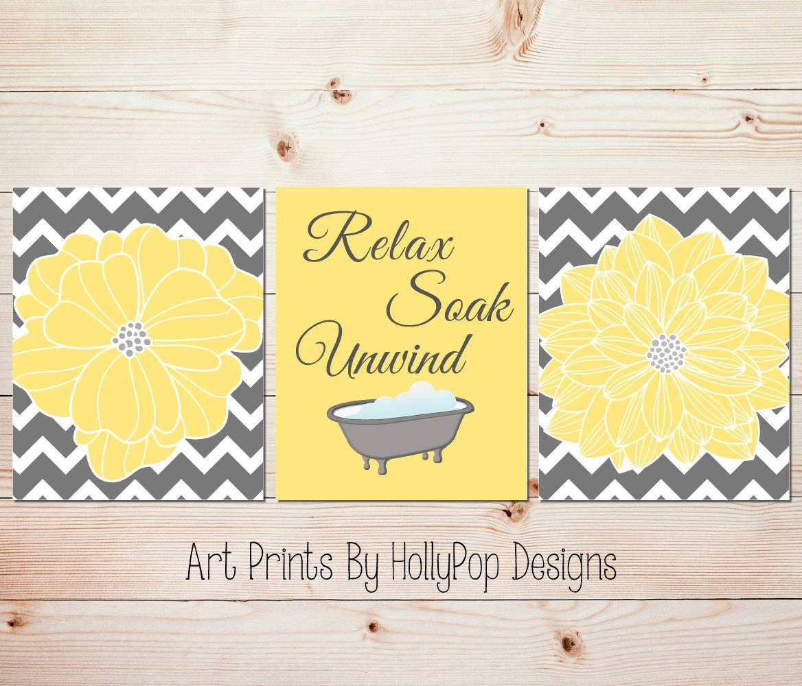 Yellow Gray Bathroom Wall Decor Bathroom Art Prints Yellow In Recent Yellow And Grey Wall Art (Gallery 18 of 25)